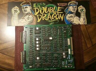 Double Dragon Original Arcade PCB Board Technos Jamma w/ Marquee, Tested Working
