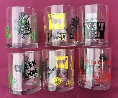 Mid Century Retro Vintage Tumbler set of 6 Glasses Scotch Whisky - Made in Italy