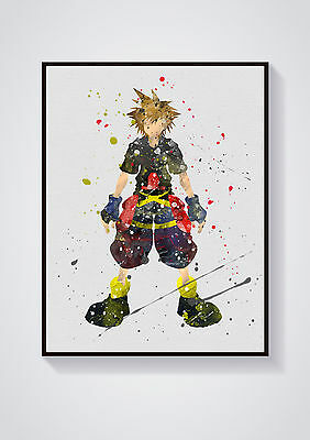 Sora Kingdom Hearts Watercolour Wall Prints - Sizes  10x8, A4, A3 Lots of Styes