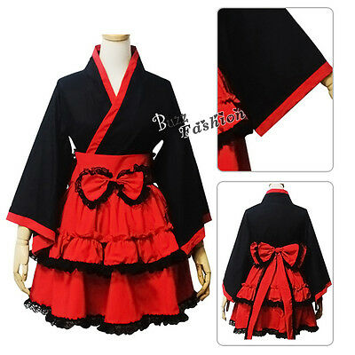 Lolita Red And Black Dress Anime Cosplay Costume Women Ladies Skirt  Party