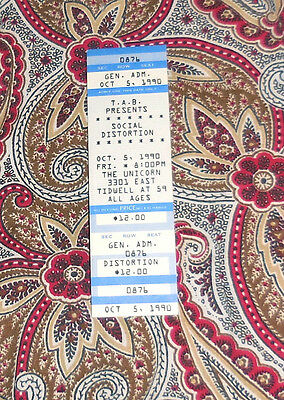 Social Distortion 1990 Full Unused Ticket!  Mike Ness!  Look!