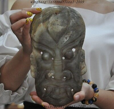 Rare Chinese Hongshan Culture Old jade Carved Paople Face Facial Statue Masks  A