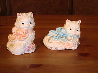 Vintage Pair Porcelain White Cat Salt & Pepper Shakers W/ Pink & Blue Ribbons
