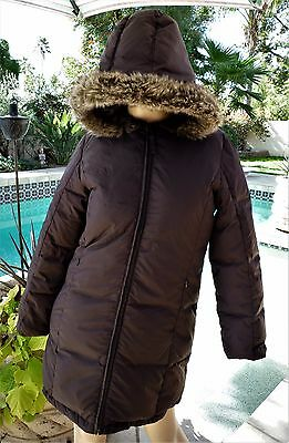 Girls Jacadi Long Down Jacket With Fur Hood Size 12A/152Cm