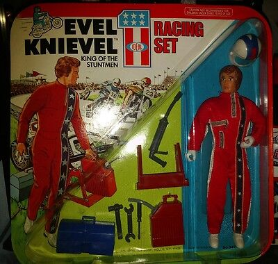 Evel Knievel Racing Set Vintage Ideal Toy 1975 Mint On Unpunched Card.