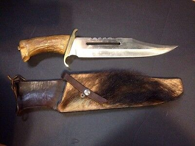 Mountain Man Vintage Hunting Bowie Knife Custom Leather Grizzly Brass Stag Huge!