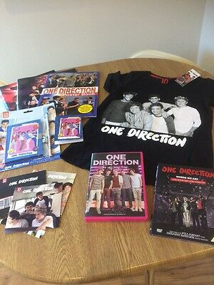 One Direction Bundle, Inc Brand New T-shirt, DVDs, Stationery And Books.