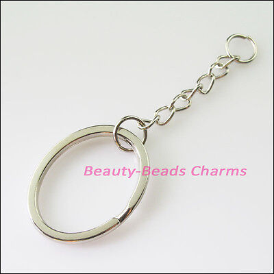 3Pcs Dull Silver Plated Split Oval Key Rings With Chains Connectors 28x32mm