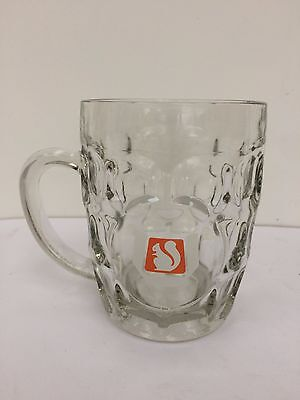 Perfect Condition Vintage Ansells Half Pint Dimple Glass Tankard Crown Stamped