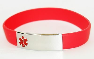 Silicone Medical Alert Bracelet Stainless Steel Plate Length 21cm RED
