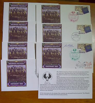 Aust PSE FDI Organised Philately 1988 -  7 covers Stampex Adelaide PM
