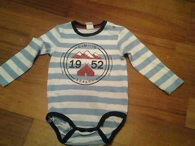 Bnwot long sleeved blue/white stripey vest h&m 12-18 months