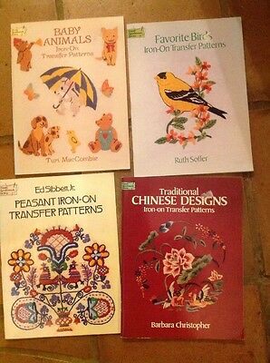 Lot Of Dover Iron On Transfer Books Birds Flowers Vintage
