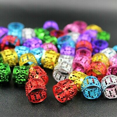 50 x Dreadlock Beads, Cuffs, Clips for Braids, Hair Extensions, Mixed Colours