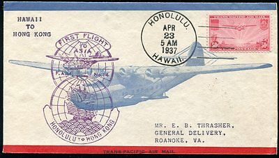 US C22 on airmail first flight 1937 cover FAM 14 Honolulu, Hawaii to Hong Kong