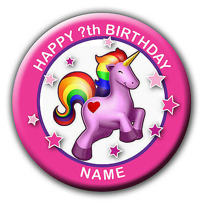 Personalised Unicorn Rainbow Birthday Badges / Fridge Magnet / Mirror Gift