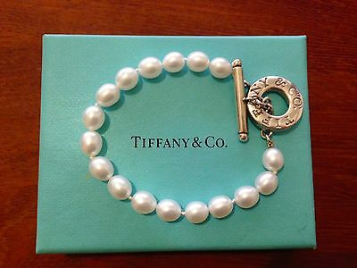 Tiffany & Co Sterling Silver and Pearl Toggle Bracelet