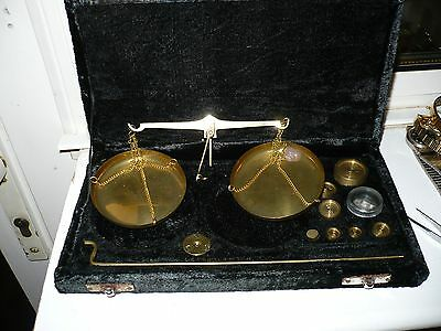 Vintage Brass Chemical Or Jewellers Boxed Scales