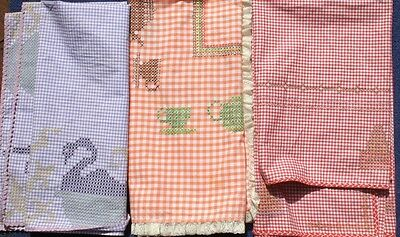 COTTON Vintage 1960s 3 X Hand Embroidered Checked cloths, Party, High TEA COTTON