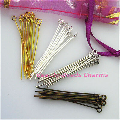 20mm 30mm 40mm 50mm Eye Pins Finding Connectors Gold Silver Bronze Plated