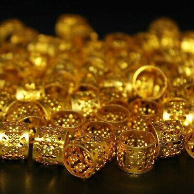 50 x Dreadlock Beads, Cuffs, Clips for Braids, Hair Extensions, Gold Colour