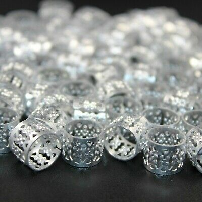 50 x Dreadlock Beads, Cuffs, Clips for Braids, Hair Extensions, Silver Colour