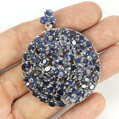 Genuine Heated Asia Aaa Blue Sapphire Sterling 925 Silver Brooch With Pendant