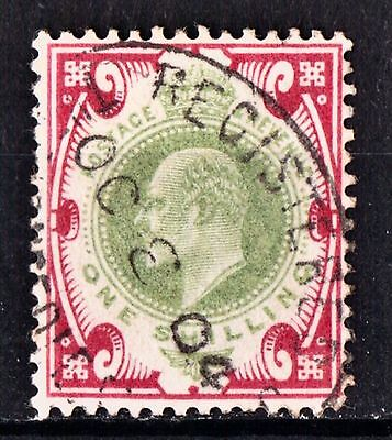 Edward VII. 1 shilling. fine used. dull green & carmine. SG.257a chalky.
