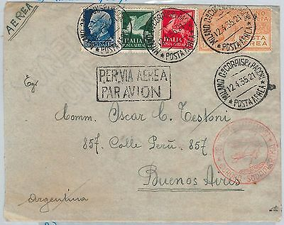 60084 -  ITALY - POSTAL HISTORY - AVIATION: ZEPPELIN COVER to BUENOS AIRES 1935