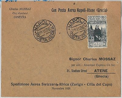 ITALY - POSTAL HISTORY - AVIATION: First Flight  COVER: ZURIG/ CAPE TOWN 1926