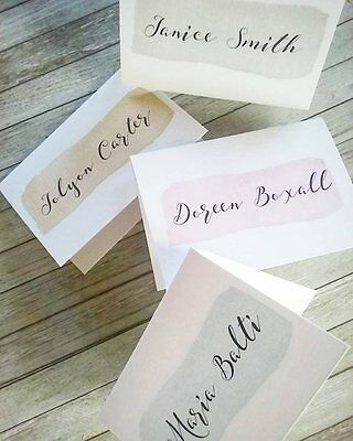 Pack of 10 Personalised Place Cards - Calligraphy Place Cards - Watercolour