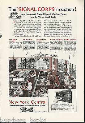 1944 NEW YORK CENTRAL RR advert, SIGNAL CORP, NYC Tower operators & equipment