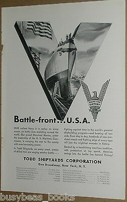 1942 Todd Shipyards advertisement, Ships For VICTORY, battleship launching
