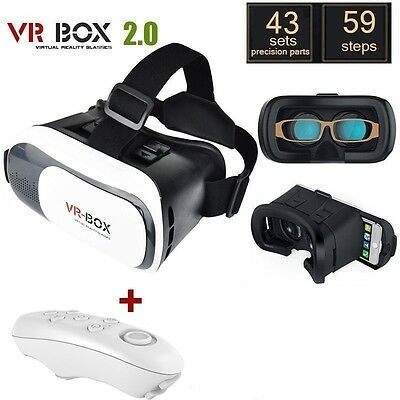 VR Box Virtual Reality 3D Headset Glasses + Remote for Google Android & iPhones