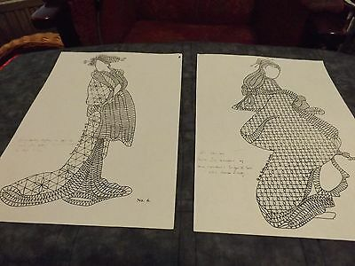 bobbin lace patterns japanese ladies X 6 all different