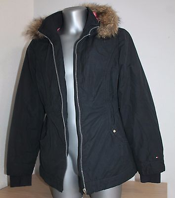 Womens TOMMY HILFIGER Sport Jacket Poliester Cotton liner Quilted Black/Pink M