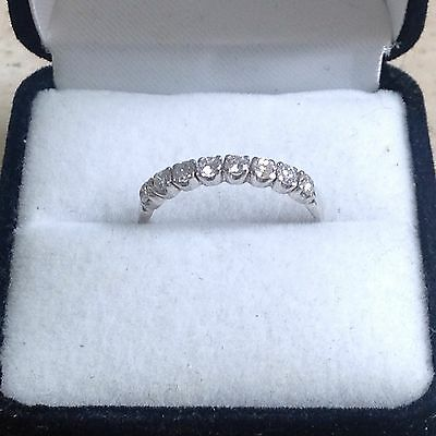 18ct White Gold 0.40ct Half Eternity Diamond Ring. Size Q.
