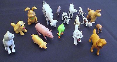 Mixed Lot of 17 Plastic Farm Toy Animals - Cows, Dogs, Pigs, Fox, Cat, Bunny