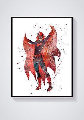 Bat Woman Superhero Watercolour Wall Prints - Sizes  10x8, A4, A3 Lots of Styes