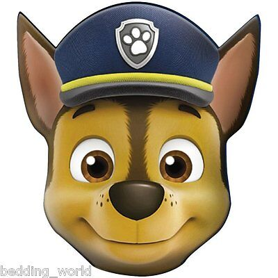 Filled Cushion Chase Head Shaped Paw Patrol Canine Police Cop Dog Blue Brown