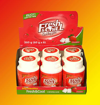 6x Fresh & Chill Strawberry Erdebeer Kaugummi Dragee á 60g=360g