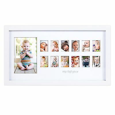 """Pearhead """"My First Year"""" Photo Moments Baby Keepsake Frame White"""