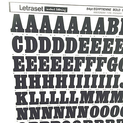 NEW SHEET LETRASET RUB ON TRANSFER LETTERS 84pt Egyptienne Bold Condensed 24.3mm