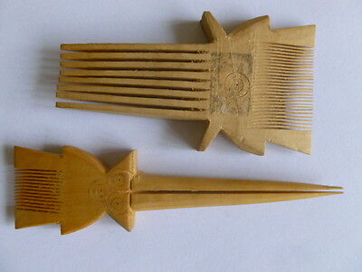 Two African wooden hair combs, just possibly Indian