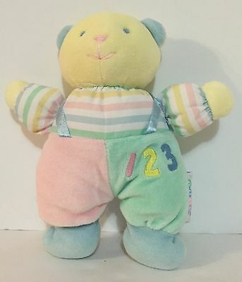 Eden Rattle Plush Bear Baby Toy Pastel Colors Numbers 1 2 3 Stripes Soft Lovey