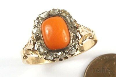 LARGE ANTIQUE EARLY VICTORIAN 18K GOLD CORAL & ROSE CUT DIAMOND RING c1840