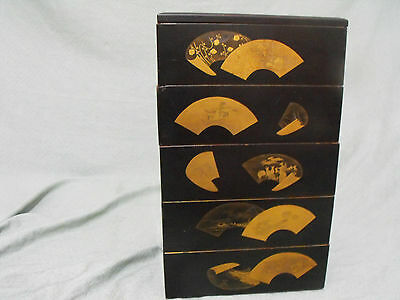 Antique Japanese Black Lacquer w/ Gold Jewelry / Food / Storage Box
