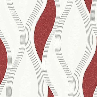 Wave Embossed Textured Wallpaper Rolls - Red - E62010 Ugepa New