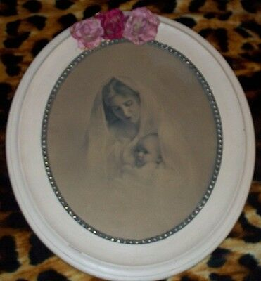 large vintage antique oval frame madonna child mother mary jesus print picture
