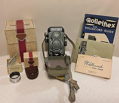 Vintage Rollei F & H Baby Grey Camera w/Accessories